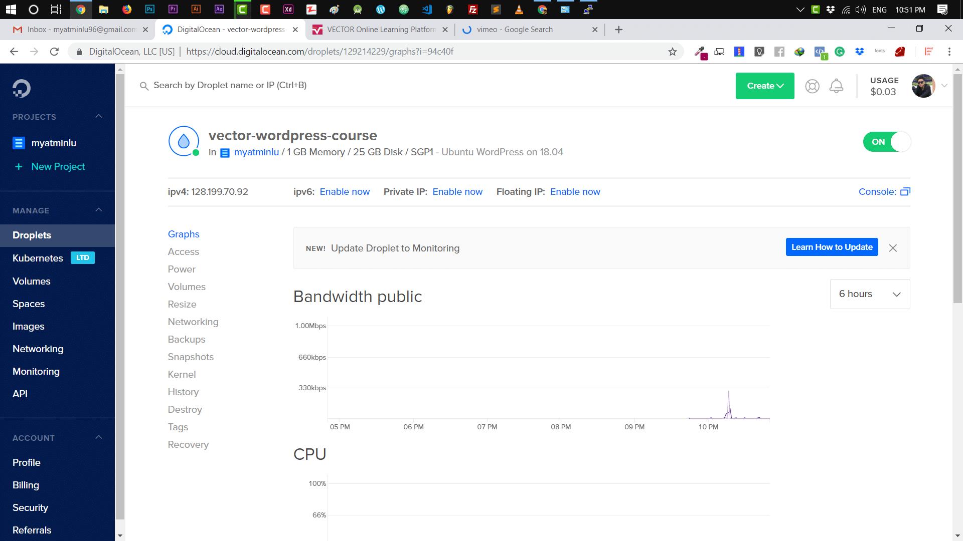 WordPress ကို Digital Ocean တွင် Install နှင့် Setup လုပ်ခြင်း