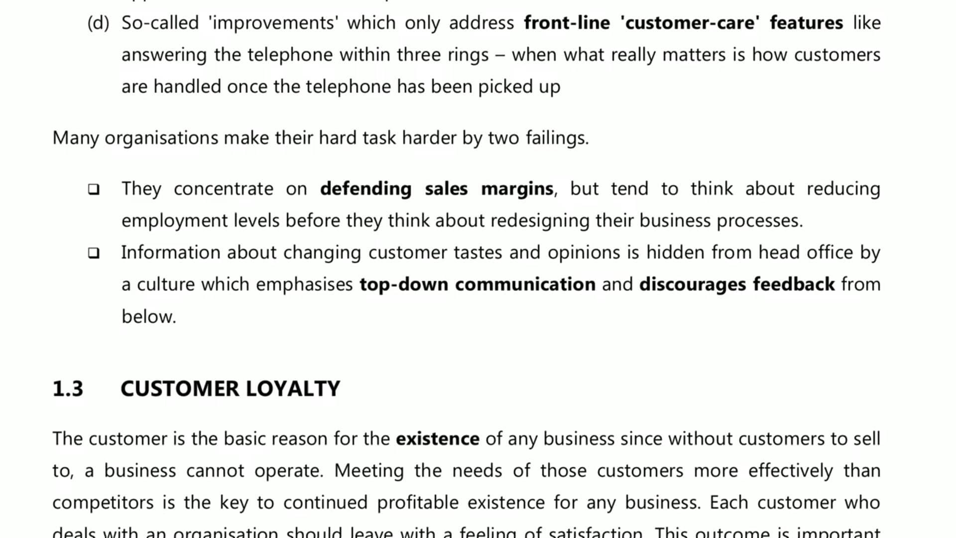 Ch 3 Customer Focus
