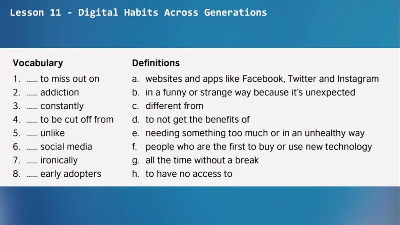 Lesson 34 - Digital habits across generations